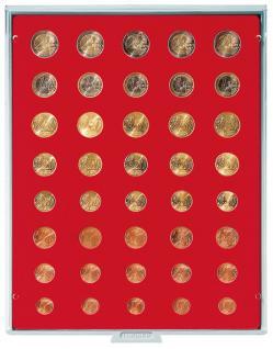 LINDNER 2555 Münzbox Münzboxen 2555 Standard 5 komplette Euro Kursmünzensätze KMS 1 Cent - 2 Euromünzen
