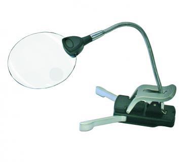 SAFE 4665 Randlose Leuchtlupe Klemmlupe Lupe + LED 2x & 4x fache Vergrößerung Linse 90 mm + Batterien