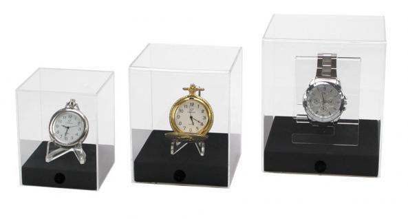 """SAFE 5287 Acryl Präsentations Uhren Vitrinenwürfel """" CUBE M """" Glasklar 100 x 100 x 120 mm Taschenuhren - Vorschau 3"""