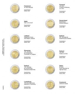 1 x LINDNER MU2E24 Multi Collect Münzhüllen Vordruckblatt 2 Euro Gedenkmünzen Frankreich 2019 - Frankreich 2020