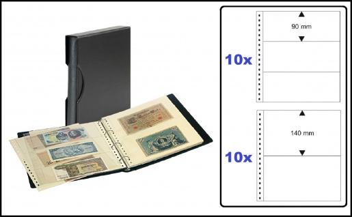 """LINDNER SRSBN-814 Banknotennalbum Ringbinder Album """" SRS """" Schwarz + Schutzkassette mit 20 Hüllen je 10x 830 2er Teilung & 10x 831 3er Teilung für 100 Banknoten"""