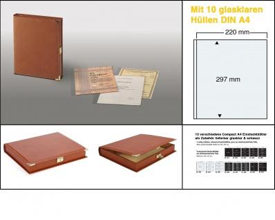 SAFE 445 Hellbraune Dokumentenkassette &. Dokumentenmappe DIN A4 abschließbar mit 10 x transparenten Folien Hüllen A4 mit 1 Tasche 220x297 mm