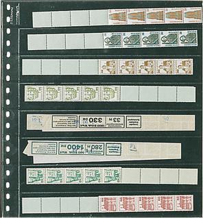 1 x LINDNER 828 Klarsichthüllen 8 waagerechte Streifen 30x242 mm Für Rollenmarken