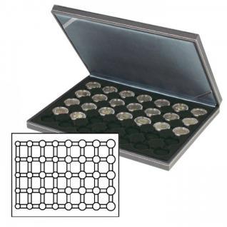 LINDNER 2364-2556CE Nera M Münzkassetten Einlage Carbo Schwar für 5 komplette Euro Kursmünzensätze KMS 1 Cent - 2 € in Münzkapseln