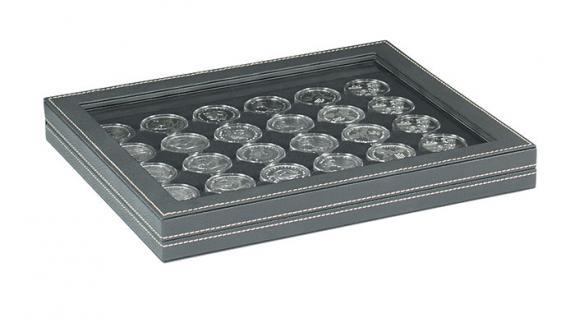 LINDNER 2367-2537CE Nera M PLUS Münzkassetten Einlage Carbo Schwarz für 30 x Münzen bis 37 mm mit glasklarem Sichtfenster - Ideal für 10 & 20 Euro DM in orig. Münzkapseln 32, 5 PP