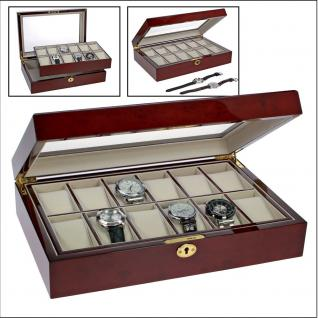 SAFE 260 Lackholz Uhrenkassette - Uhrenvitrine Mahagonifarbend Piano Optik mit 12 Uhrenhaltern klarem Sichtfenster - Schmuck