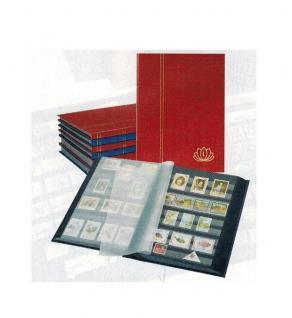 """Lindner 5702-R Briefmarken Einsteckbücher Einsteckbuch Einsteckalbum Einsteckalben Album """" LOTOS """" Weinrot Rot 32 schwarze Seiten - Vorschau 1"""