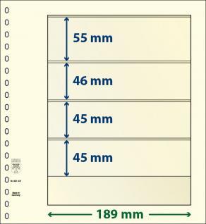 10 x LINDNER 802401P T-Blanko-Blätter Blankoblatt 18-Ring Lochung 4 Taschen 55 / 46 / 45 / 45 x 189 mm
