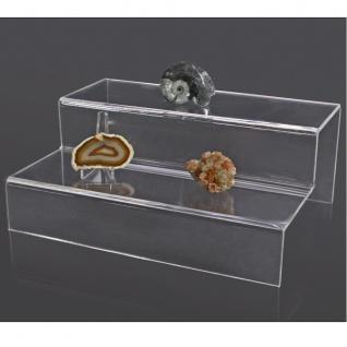 SAFE 5266 ACRYL Präsentations-Treppen Deko Aufsteller 2 Stufen Für Mineralien - Fossilien - Steine - Bernstein - Muscheln - Kristalle
