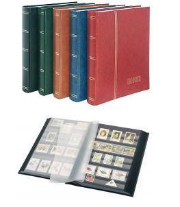 """Lindner 1168 - R Briefmarken Einsteckbücher Einsteckbuch Einsteckalbum Einsteckalben Album """" Standard """" Weinrot Rot 32 schwarze Seiten - Vorschau 1"""