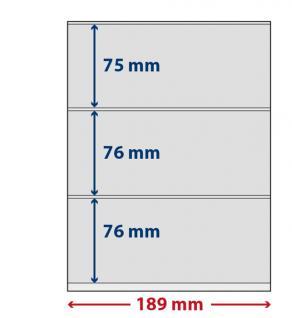 5 x LINDNER S802310H LINDNER-T freestyle Folienhüllen 3 Taschen 75/76/76 x 189 mm mit Klebestreifen