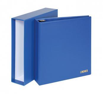 Lindner 1702 UNIPLATE Ringbinder Album Standard Blau mit 3 Ring - Mechanik + Schutzkassette (leer) zum selbstbefüllen
