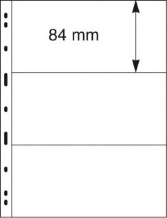 10 x LINDNER 093 UNIPLATE Blätter, glasklar 3 Streifen / Taschen 84 x 194 mm Für Blocks Banknoten Geldscheine