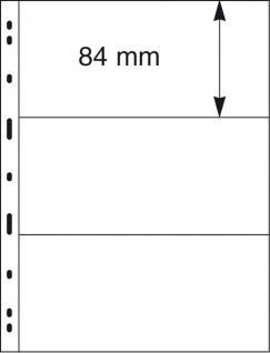 5 x LINDNER 093 UNIPLATE Blätter, glasklar 3 Streifen / Taschen 84 x 194 mm Für Blocks Banknoten Geldscheine