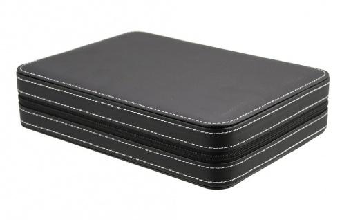 SAFE 0012 Leder Reiseetui Uhren Etui Koffer Uhrenbox in matt Carbo - Schwarz für 8 Armbanduhren Uhrenetui - Vorschau 2