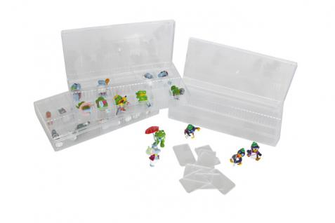 10 x LINDNER 4820P Stapelbox Sammelvitrine mit 12 Fächern glasklar für Ü Ei Figuren
