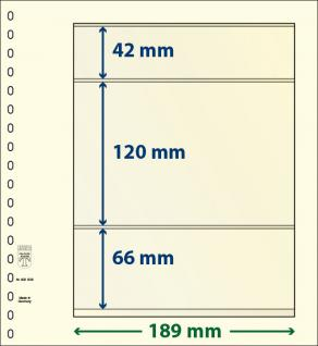 1 x LINDNER 802308 T-Blanko-Blätter Blankoblatt 18-Ring Lochung - 3 Taschen 42 / 120 / 66 x 189 mm