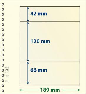 10 x LINDNER 802308P T-Blanko-Blätter Blankoblatt 18-Ring Lochung - 3 Taschen 42 / 120 / 66 x 189 mm