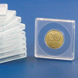 2 x SAFE 3123 Quadratische Münzkapseln Münzdosen Square 50x50 mm glasklar für Münzen bis 23 mm - Ideal für 20 Cent - 20 Mark Kaiserreich Gold - 10 Rubel Nicholas II Gold