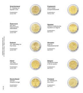 1 x LINDNER 1118-18 Vordruckblatt + K3 Karat Blatt - 2 EURO Gedenkmünzen Januar - April 2016 / Finnland - Vorschau 1