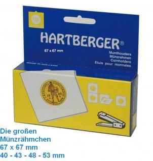 25 SAFE 7948-HF HARTBERGER grosse Münzrähmchen zum heften 67 x 67 mm - Innendurchmesser 48 mm