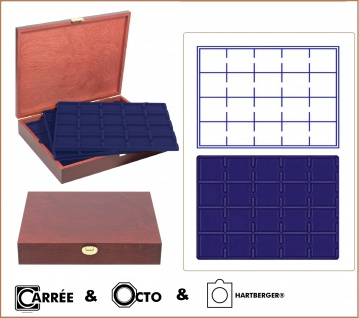 LINDNER S2495-S2122ME Echtholz Holz Münzkassetten 5 Tableaus 2122ME mit 5 Tableaus blau für 100 Münzrähmchen - Carre Octo Münzkapsen - Quadrum Münzkapseln