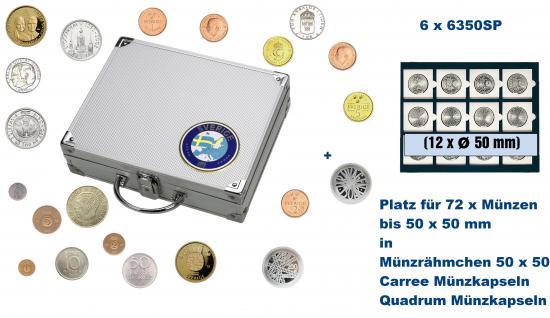 SAFE 248 ALU Länder Münzkoffer SMART Schweden / Sweden / Sverige mit 6 Tableaus 6350SP für 72 Münzrähmchen Standard 50x50 mm / Münzen bis 50 mm / Carree - Octo - Quadrum Münzkapseln
