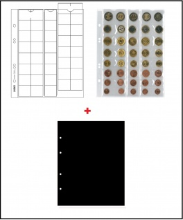 10 x LINDNER MU40 Multi Collect Münzblätter Münzhüllen 40 Taschen 5 komplette Euro Kursmünzensätze KMS 1, 2, 5, 10, 20, 50 Cent & 1, 2 Euro + schwarzen ZWL