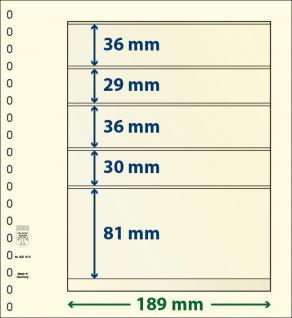 1 x LINDNER 802513 T-Blanko-Blätter Blankoblatt 18-Ring Lochung 5 Taschen 36 / 29 / 36 / 30 / 81 x 189 mm