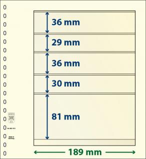 10 x LINDNER 802513P T-Blanko-Blätter Blankoblatt 18-Ring Lochung 5 Taschen 36 / 29 / 36 / 30 / 81 x 189 mm