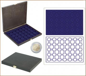 LINDNER S2491-2530ME CARUS-1 Echtholz Holz Münzkassetten blau 35 runde Fächer 32 mm Für 35 x 2 Euro Münzen in Münzkapseln 26