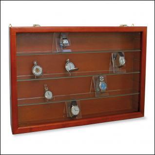 """SAFE 5927 Mahagonifarbende Holzvitrine """" MAXI """" 620 x 420 x 100 mm 4 Ebenen Für Uhren Taschenuhren"""