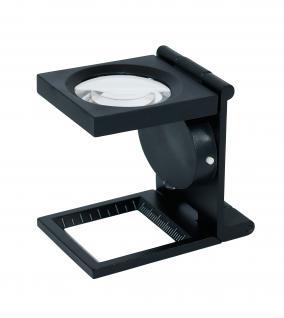 LINDNER S30 LED - Metall LEUCHTLUPE Standlupe Fadenzähler 6 FACHE Vergrößerung Linse 30 mm + Scala