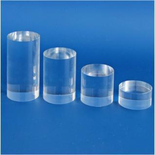 """4 x SAFE Set 5213 + 5214 + 5215 + 5216 ACRYLGLAS Deko Präsentations Säulen Universal """" S - M - L - XL """" Durchmesser 50 mm Höhe 25 - 50 - 75 - 100 mm - Für all die kleinen Schätze von A - Z"""