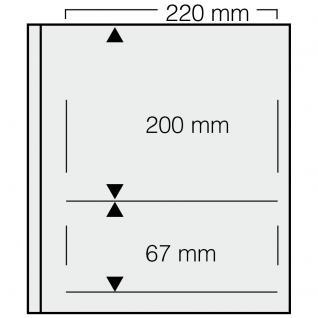 1 x SAFE 661 dual Blankoblätter Einsteckblätter Ergänzungsblätter mit je 1 Tasche 220x200 DIN A5 & 1 Tasche 220x67 mm Für Briefmarken Banknoten Postkarten Briefe