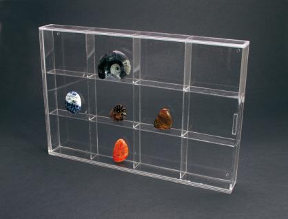 SAFE 5258 ACRYLGLAS Sammelvitrinen Kleinvitrinen Setzkasten Universal 12 Fächern 85 x 75 x 42 mm Für Mineralien - Fossilien - Edelsteine - Bernstein - Muscheln - Schnecken - Kristalle