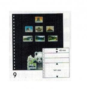10 x LINDNER 081P Omnia Einsteckblätter schwarz 3 Streifen x 43 mm & 1 Streifen 141 mm