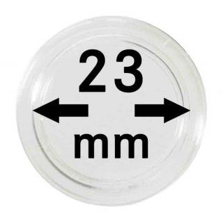 100 LINDNER Münzkapseln / Münzenkapseln Capsules Caps 23 mm 2251023