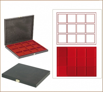 LINDNER S2491-2812E CARUS-1 Holz Sammelkassetten Hellrot 12x 66x66x18, 5mm