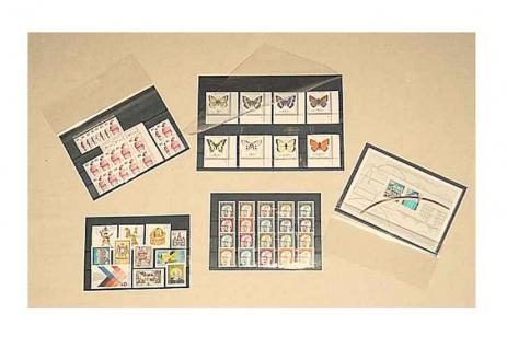 1000 x C6 KOBRA VF3 Einsteckkarten Steckkarten Klemmkarten mit 3 Streifen + Folienschutzblatt für Briefmarken - Vorschau 3