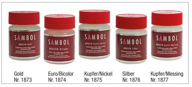 5 x SAFE SAMBOL SET Münzbäder Tauchbäder Münzen Reiniger Bad 1873 Gold + 1876 Silber + 1877 Kupfer / Messing + 1874 BI-Colour + 1875 Kupfer / Nickel je 250 ml