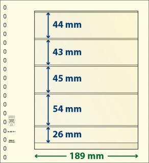 1 x LINDNER 802511 T-Blanko-Blätter Blankoblatt 18-Ring Lochung 5 Taschen 44 / 43 / 45 / 54 / 26 x 189 mm