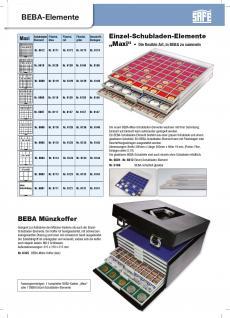 SAFE 6610-4 BEBA MÜNZBOXEN 100 quadratische Fächer 26, 5 mm + blaue Filzeinlagen Für 12 komplette Euro Kursmünzensätze KMS von 1 , 2, , 5 , 10 , 20 , 50 Cent & 1 , 2 Euromünzen - Vorschau 2