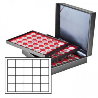 LINDNER 2365-2120E Nera XL Münzkassetten 3 Einlagen Hellrot Rot mit 60 Fächern 47x47mm für 1 Dollar US Silver Eagle in Münzkapseln