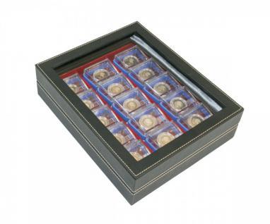 LINDNER 2369-2403E NERA VARIUS Münzkassetten mit Sichtfenster und hellroter Einlage F. 15 x 5 Euro Planet Erde in Original Präsentationsbox