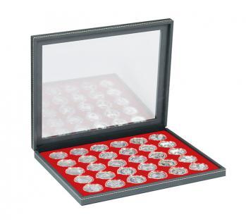 LINDNER 2367-2537E Nera M PLUS Münzkassetten Einlage Hellrot Rot für 30 x Münzen bis 37 mm mit glasklarem Sichtfenster - Ideal für 10 & 20 Euro DM in orig. Münzkapseln 32, 5 PP