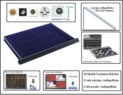 SAFE 6472 Stapelelemente Münzboxen mit schräger Auflagefläche blaue Einlage 16 eckige Fächer 71 x 64 mm mm - Ideal für 10 DM in Blisterfolie PP - Münzrähmchen 50x50 mm- Octo - Carree - Quadrum Münzkapseln