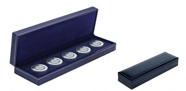 SAFE 7918 Dunkelblaues Münzetui mit Schmuckprägung für Deutsche 5 x 5 Euro Gedenkmünzen Blauer Planet Erde 2016 A D F G J