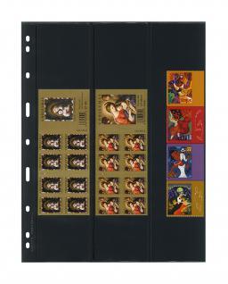 10 x LINDNER 063 UNIPLATE Blätter, schwarz 3 Streifen je 1x 61 x 258 mm & 62 x 258 mm & 63 x 258 mm