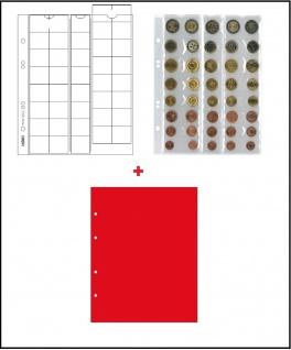 5 x LINDNER MU40R Multi Collect Münzblätter Münzhüllen 40 Taschen 5 komplette Euro Kursmünzensätze KMS 1 Cent - 2 € + roten ZWL